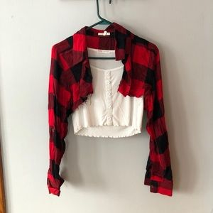 FREE SHIPPING Flannel very cropped long sleeve